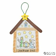 manger crafts preschool | Nativity Thumbprint Sign Craft Kit - Oriental Trading