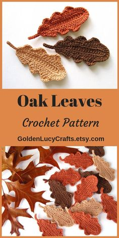 Oak Leaves, crochet pattern, crochet leaves, fall The Effective Pictures We Offer You About crochet projects A quality picture can tell you many. Crochet Pumpkin, Crochet Fall, Holiday Crochet, Crochet Home, Knit Or Crochet, Crochet Gifts, Crochet Motif, Single Crochet, Chrochet