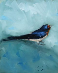 Painterly Barn Swallow, Blue, Black, Rust Orange, Sitting Bird on Blue Green - Original Painting by Clair Hartmann.