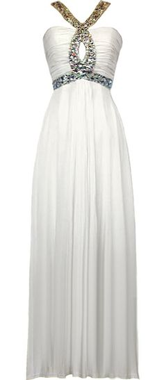 Greek Goddess Gown: Features a stunning crossover embellished strap design with peekaboo separater at front center, shirred bodice for striking texture, gracefully gathered chiffon maxi skirt, and a centered rear zip closure to finish.