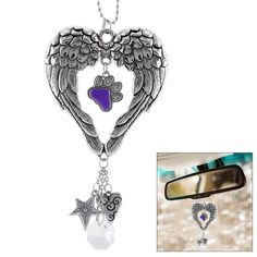 Wings of an Angel Purple Paw Rearview Mirror Car Charm #AnimalRescue