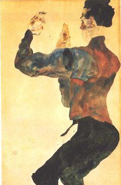 Egon Schiele - Self Portrait with Raised Arms, 1912