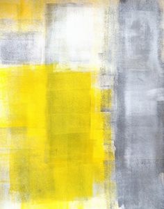 Acrylic Abstract Art Painting Grey Yellow and White  by T30Gallery, $14.00