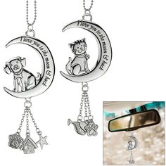 Your love for your furry friend knows no bounds! Carry that warm, fuzzy feeling wherever the road takes you with the luminous car charm set, featuring a darling pooch or feline, with animal-inspired charms dangling below.