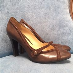 "Cole Haan Brown Mary Jane Heels Adorable brown Cole Haan Mary Jane heels. These were sold to me as worn once, ""perfect condition"". Unfortunately they were not so, when they arrived to me. They have some exterior scuffing and a small chip in the side of the 4"" heel. The inside of the shoe is in fabulous condition. They are otherwise, absolutely adorable. I cannot manage a 4"" heel, so my loss is your gain. Cole Haan Shoes Heels"