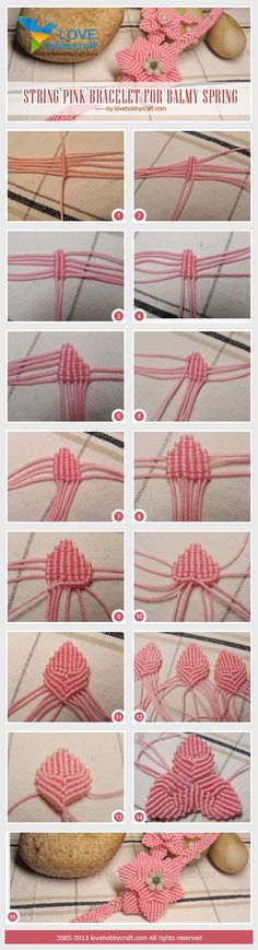 Macrame flower tutorial with 2 layers of 3 petals each.
