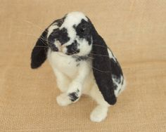 Lilly the Bunny Needle felted animal sculpture by TheWoolenWagon, $110.00