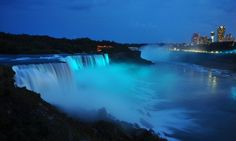 For the baby boy born of the Duke and Duchess of Cambridge July 22, 2013. Niagra Falls with blue lights in celebration.