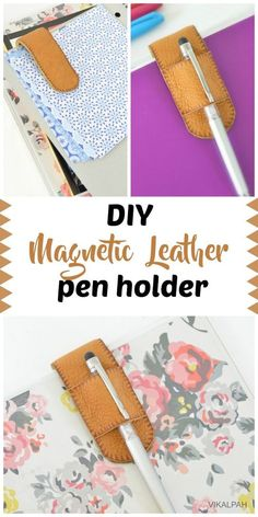 """Do you always lose your pens? Here is a simple idea on how to make a DIY magnetic leather pen holder. This is not only perfect for holding a pen but also for holding papers, bills or coupons to your notebook /book/ binder. Pen Holder Diy, Card Holders, Craft Projects, Sewing Projects, Diy Leather Projects, Leather Bookmark, Leather Scraps, Pen Case, Stencil Diy"