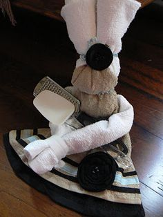 """""""Towel Girl"""" Adorable little 'girl' made from kitchen towels. Author used this for a bridal shower"""