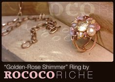 Wire-Wrapped Czech Glass Cluster Handmade Ring with Adjustable Hammered Copper Band on Etsy, $17.95