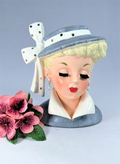 "Lady HEAD VASE NAPCO  ""Lucy"" C3959A  Brush Lashes,  Blue Dress  and Hat, with  White Bow & New Earrings . The 5 1/2""  Vase was made in 1959. by VintageQualityFinds on Etsy"