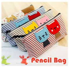 NEW lovely cartoon animal Cat stripe Pencil bag canvas pencil case Pen holder Cosmetic Bag Pouch Wholesale Cool Pencil Cases, Sewing Crafts, Sewing Projects, Pencil Boxes, Pencil Holders, 2 Pencil, Pen Case, Cat Pattern, Pouch Bag