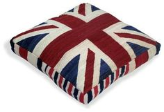 Union Jack Kilim Red/White/Blue Floor Cushion by Loominary on Union Jack Pillow, Contemporary Decorative Pillows, British Things, Blue Floor, British American, Penny Rugs, Pillow Sale, Floor Cushions, Red White Blue