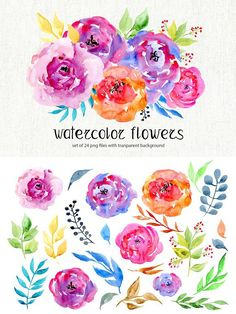 Watercolor flowers, 24 png clipart. Wedding Card Templates
