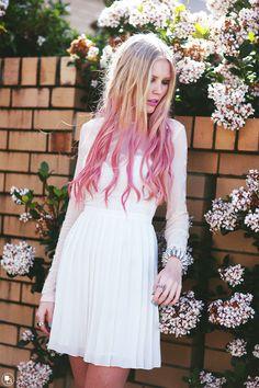 pink dip dye hair