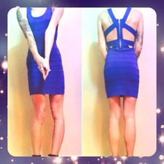 """F21 Cage Body Con Dress Ribbed rayon/nylon/spandex fabric. Lots of stretch to fit you like a glove. Minor wear pictured above! Great dress just too big for me now! Measurement from top to bottom 33"""". Please see Forever 21 Size Chart on Google if you need other measurements! Royal blue in color.  I ONLY ACCEPT OFFERS $10 OR MORE, ALL OTHER ITEMS ARE FINAL PRICE(SO NO OFFERS). NO PAYPAL OR TRADES. Forever 21 Dresses Mini"""