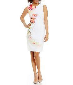 3ecc710ce5d Calvin Klein Petite Floral-Print Scuba Sheath Dress Calvin Klein Women s  Clothing