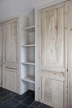Pantry reclaimed door built ins