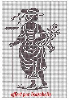 0 point de croix paysanne - cross-stitch woman peasant