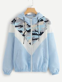 SweatyRocks Blue Mesh Panel Camo Print Hooded Jacket Activewear Drawstring Zip Up Hoodie Jacket 2018 Women Autumn Casual Tops - blue,s Hoodie Sweatshirts, Camouflage, Women's Camo, Coats For Women, Clothes For Women, Mode Mantel, Mode Hijab, Camo Print, Look Cool