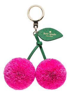 Kate Spade - cherry keychain pom poms