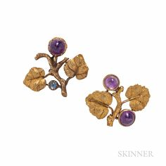 Two Mario Buccellati 18kt Gold Gem-set Brooches 3630T, 1194 | Skinner Auctioneers Amethyst Earrings, Stud Earrings, Brooches, Antique Jewelry, Fine Jewelry, Things To Sell, Gemstones, Diamond, Antiques