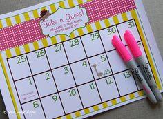 Printable Due Date Calendar // Baby Shower Game // Guess the Date Shower Bebe, Baby Shower Fall, Gender Neutral Baby Shower, Baby Shower Games, Baby Showers, Yearly Calendar Template, Pocket Calendar, Due Date Calendar, Baby Pool