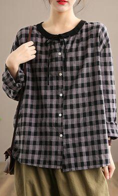 Spring Gray Plaid Sweaters Plus Size O Neck Knit Blouse Top Plus Size Blouses, Plus Size Tops, Shirt Blouses, Shirts, Linen Blouse, Long Sleeve Tops, Plaid, Gray, Autumn Tops