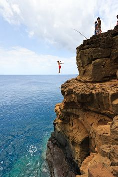 Cliff Jumping, South Point, Hawaii. If I end up here I can not wuss out