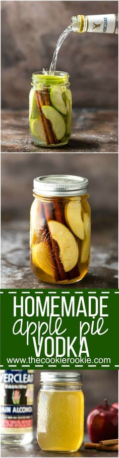Homemade Apple Pie Vodka is an easy gift idea for Fall! Simple Apple Pie Vodka makes the best fall cocktail with Apple Pie Spritzer! Apple Pie Vodka, Apple Cide