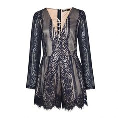 Ally Fashion Lace playsuit with lace up detail ($46) ❤ liked on Polyvore featuring jumpsuits, rompers, lace romper, playsuit romper and lace rompers