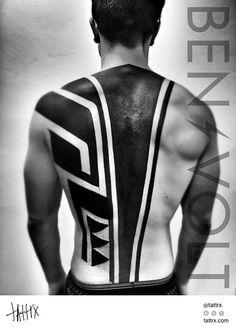 Aztec, black and white, geometric, tribal, back tattoo on TattooChief.com