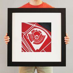 City Prints art...love this idea if Matt ever has a man cave. Get prints of all of his teams' parks.