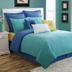 Dash Reversible 140TC Cotton Quilt Set by Fiesta Bedding Turquoise/Lapis - 11881401QMS-LTU