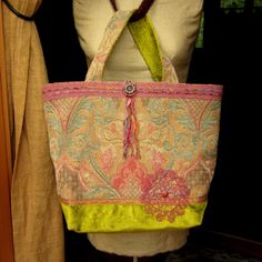Handmade Tote Bag, Carpet Bag, Large Purse, Upholstery Tapestry and Velvet, Hand Dyed Vintage Trim, Doily and Buttons, Ribbon Yarn
