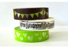Garland, Music Notes, Hearts Japanese Washi Tape - BROWN Green Set of 3