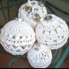 Hand crochet Christmas ornaments.