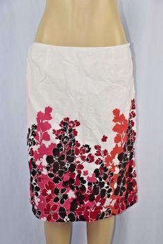 Bass Womens 12 White Brown Pink Salmon A-line Skirt Mid Calf Lined Skirt Flower #Bass #ALine