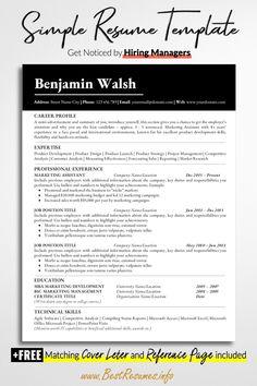 Business Resume Template, One Page Resume Template, Teacher Resume Template, Modern Resume Template, Creative Resume Templates, Resume Examples For Jobs, Resume Ideas, Basic Resume, Professional Resume
