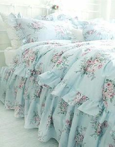 Shabby cottage chic layers of dreamy aqua teal ruffles polka dot duvet comforter… Shabby Chic Furniture, Shabby Chic Interiors, Shabby Chic Bedrooms, Shabby Chic Decor, Bedroom Furniture, Shabby Chic Bedding Sets, Bedroom Benches, Shabby Fabrics, Handmade Furniture
