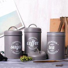 3Pcs/Set Storage Tank Cover Steel Kitchen Utensils Multifunction Tea Coffee Sugar Square Box Case Household High Quality - Australia / Grey