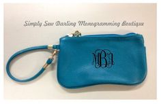 Personalized Monogrammed Indigo Wristlet Purse by SimplySewDarling