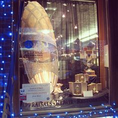 Our award-winning window with the chalk drawing egg by artist Greg Oberle highlighting the #Fabergé exhibit at the Detroit Institute of Arts. We also have a genuine Fabergé egg in the window. The drawing pays homage to Michigan's mining industry during the age of Fabergé (1842-1918). We love the theme and used it throughout the #holiday window display this year. Photo: Tiffany Dziurman Stozicki | Haig's of Rochester Fine Jewelry & Objects of Art, Rochester, MI. #jewelry #shopping #Christmas