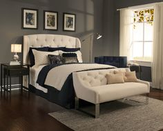 Beautiful tufted headboards with matching benches!