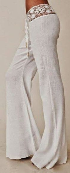 White Plain Lace Spliced Belt Mid-rise Horn Shape Stylish Long Pants - - White Plain Lace Spliced Belt Mid-rise Horn Shape Stylish Long Pants Source by dianamaina Boho Chic, Bohemian Style, Bohemian Pants, Hippie Pants, Gypsy Style, Hippie Chic Style, White Pants Fashion, Cardigan Fashion, Mode Style