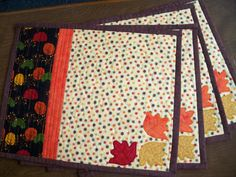 Fall Quilted Placemats Tumbling Applique by PatsPassionQuilteds, $65.00