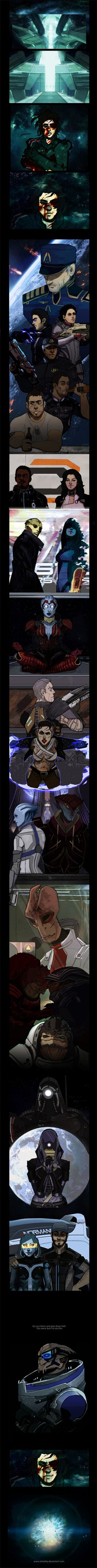 FemShep takes one last moment to reflect on her comrades & loved ones before making the ultimate sacrifice to save the galaxy. by ~Olivietta on deviantART THEM FEELS. ;_;