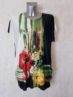 bf8bd114fda  Tunique femme  ronde vert  floral col rond et manches courtes col rond et