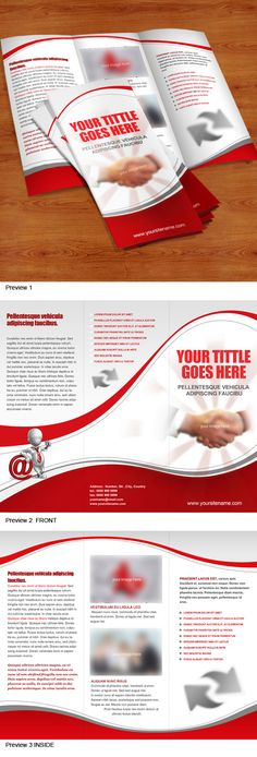 Tri fold brochure template in clean, elegant style that will present your company services or products more attractively. Both front and back views are included